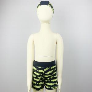 Private Label Custom Wholesale OEM Manufacturer Kids Boy 2020 High Quality Spandex Animal Printed Swim Trunks With Swim Cap