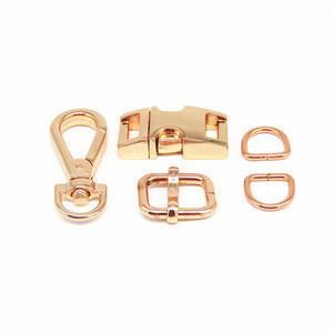 Rose Gold Dog Collar hardware Metal Quick Side Release Buckles For Dog Collars
