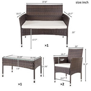 USA free shipping 4 PC Outdoor Garden Rattan Patio Furniture Set Cushioned Seat Wicker Sofa furnitures
