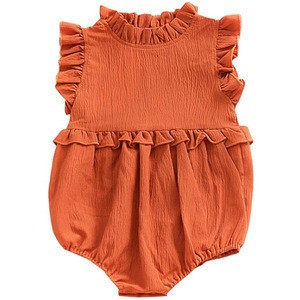 Wholesale Boutique New born Baby Girls Flutter Ruffle Romper Onesie Baby Clothes Cute Baby Linen Romper