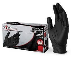 GPNB Black Nitrile Gloves, Powder Free, Fully Textured 100 Pcs for sale