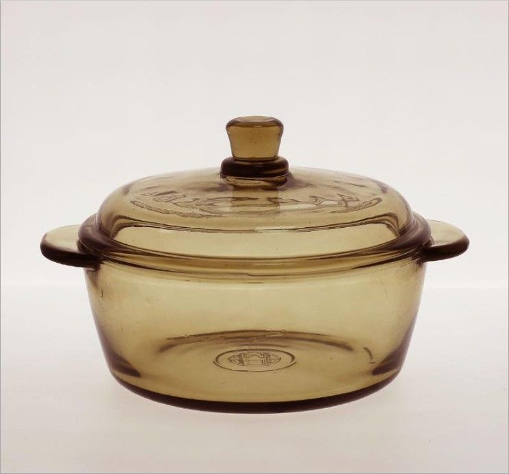 Amber glass cooking pot with cover