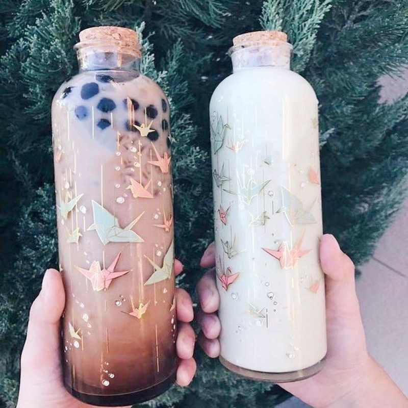 Printed Bubble Tea Glass Bottle with Cork