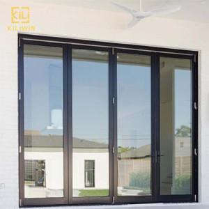 American balcony exterior black frame soundproof insulated double glass impact aluminum accordion bi folding sliding door