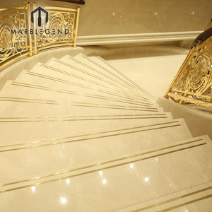 Best selling custom staircase design beige marble stairs tiles