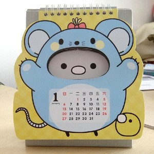 Custom printing Animal shape monthly calendar in desk calendar