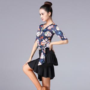 Fashionable Short Dance Skirt Girl Latin Ballroom Dancewear High Quality Training Dance Dress For Woman Dance Top