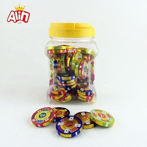Game poker chips colorful gold coins solid chocolate