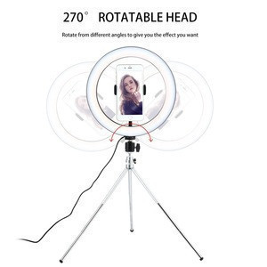 Hot Sale 10Inch Metal Stand Mobile Holder Cell Phone Clip Tiktok Flash Video Beauty Lamp Tripod Live Stream Led Ring Light