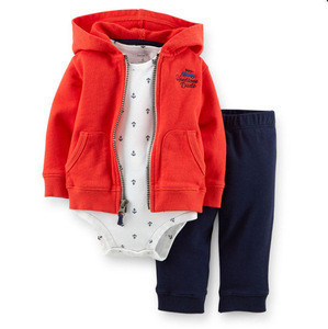 Newborn Baby Infant Girls Sets Solid Hooded Outwear Print Romper And Trousers 3pcs Wholesale Baby Clothes CS81109-16