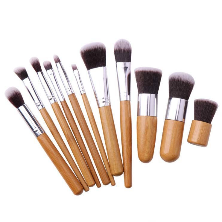 Synthetic Hair 11PCS Cosmetic Makeup Brush Set with Bamboo Handle
