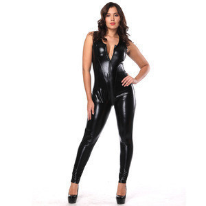 Wholesale 45$ for 5 pieces Gay club wear fetish clothing leather catsuit for women