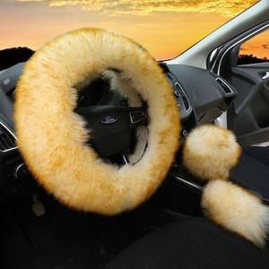 Wholesale skid resistance long wool furry car steering wheel cover