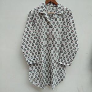 Wholesale women sleepwears cotton hand block printed nightshirts