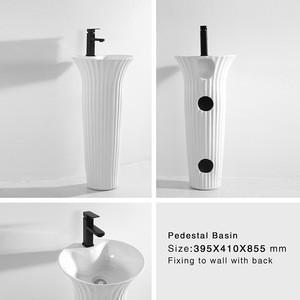 XE8188 Bathroom Sanitary Ware Ceramic Sink Marble Washbasin One Piece Pedestal Basin
