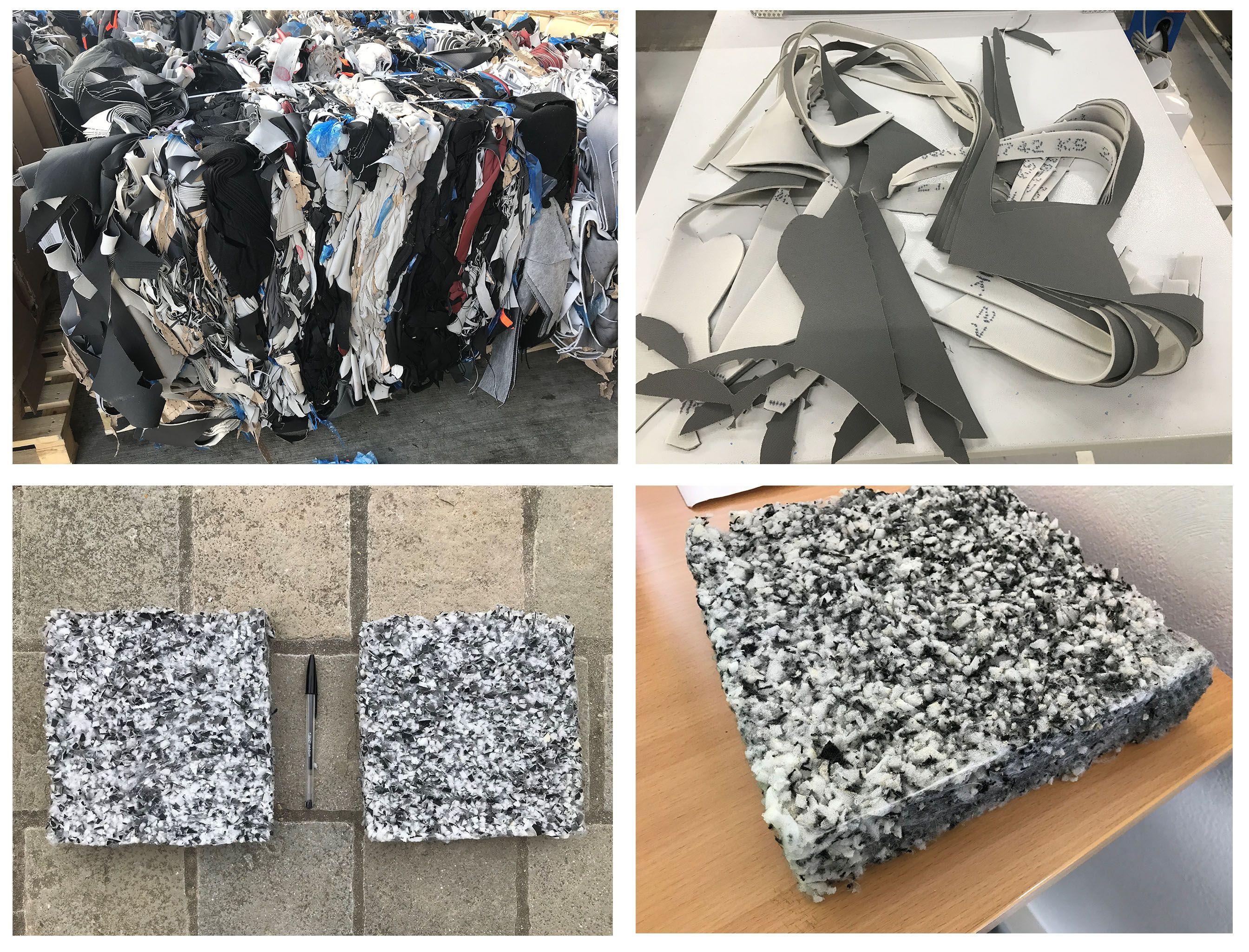 PU foamed textile waste