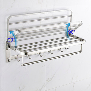24 304 Bathroom Shelves Foldable Wall Mounted Double Towel Holder With Towel Bar Stainless Steel Towel Racks Chrome 24 304 Bathroom Shelves Foldable Wall Mounted Double Towel Holder With Towel Bar