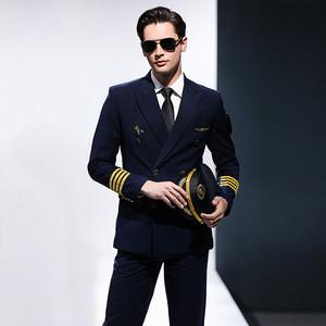 Airline Navy Blue Flight Attendant Aviator Pilot Shirt Suits Uniforms