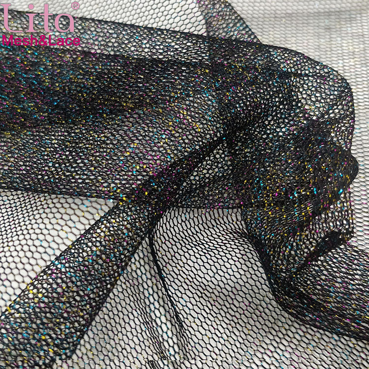 Lita J200424-3# shinning tulle hexagonal mesh fabric with colorful glitter yarn for lady dress