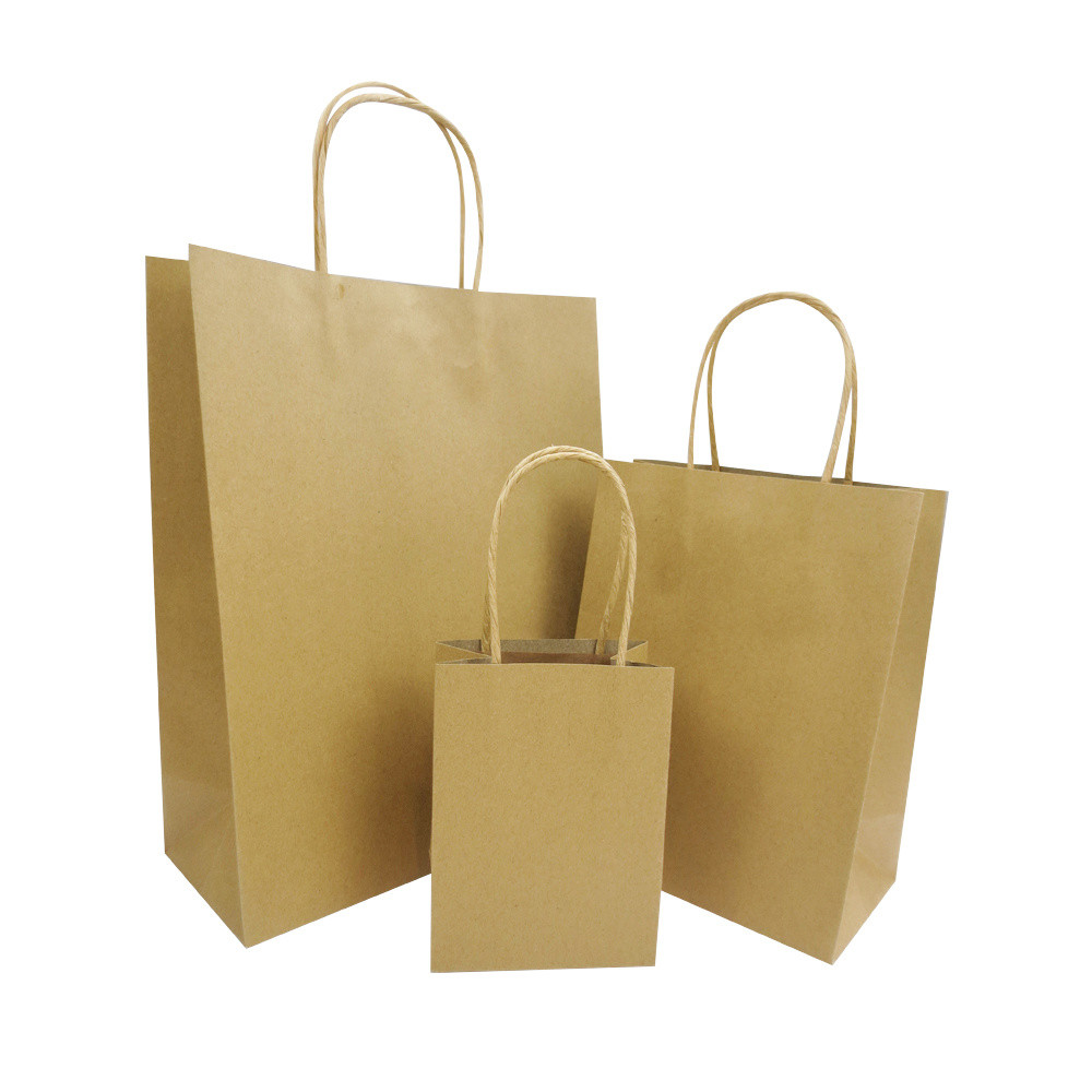 Machine Made Twisted Handle Brown Paper Gift Bags