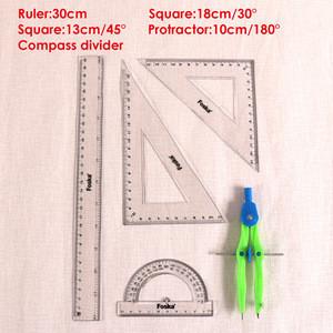 New Design 4 Pieces School Plastic Geometric Compass Ruler Set