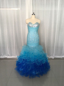 QUMO-1010 Sexy Three Color Combination Sweetheart Strapless Beads Mermaid Prom Dress Quinceanera Dress