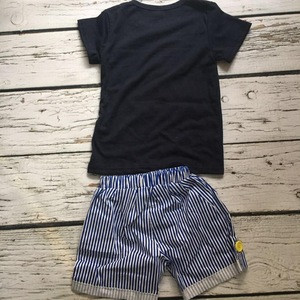 Ready To Ship Boys Short Sleeve And Shorts Set With Shark Printed Seersucker Pants Elastic Belt
