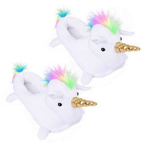 SJ275 new designed hot sale soft fleece rainbow christmas decorations lovely children party unicorn slipper