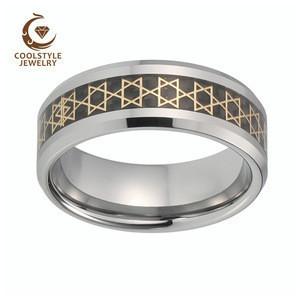 Tungsten Carbide Ring Carbon Fiber Based Gold David Star Foil Inlay Tungsten Wedding Ring