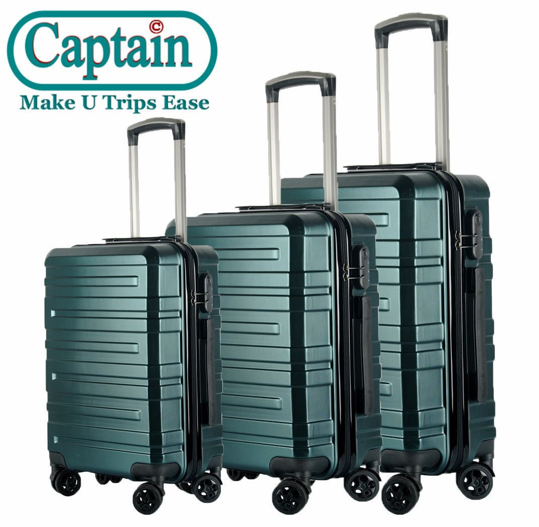 CAPTAIN Hartschalen-Koffer Trolley Rollkoffer Reisekoffer mit TSA-Schloss und 4 Rollen(Champagne, Koffer-Set)