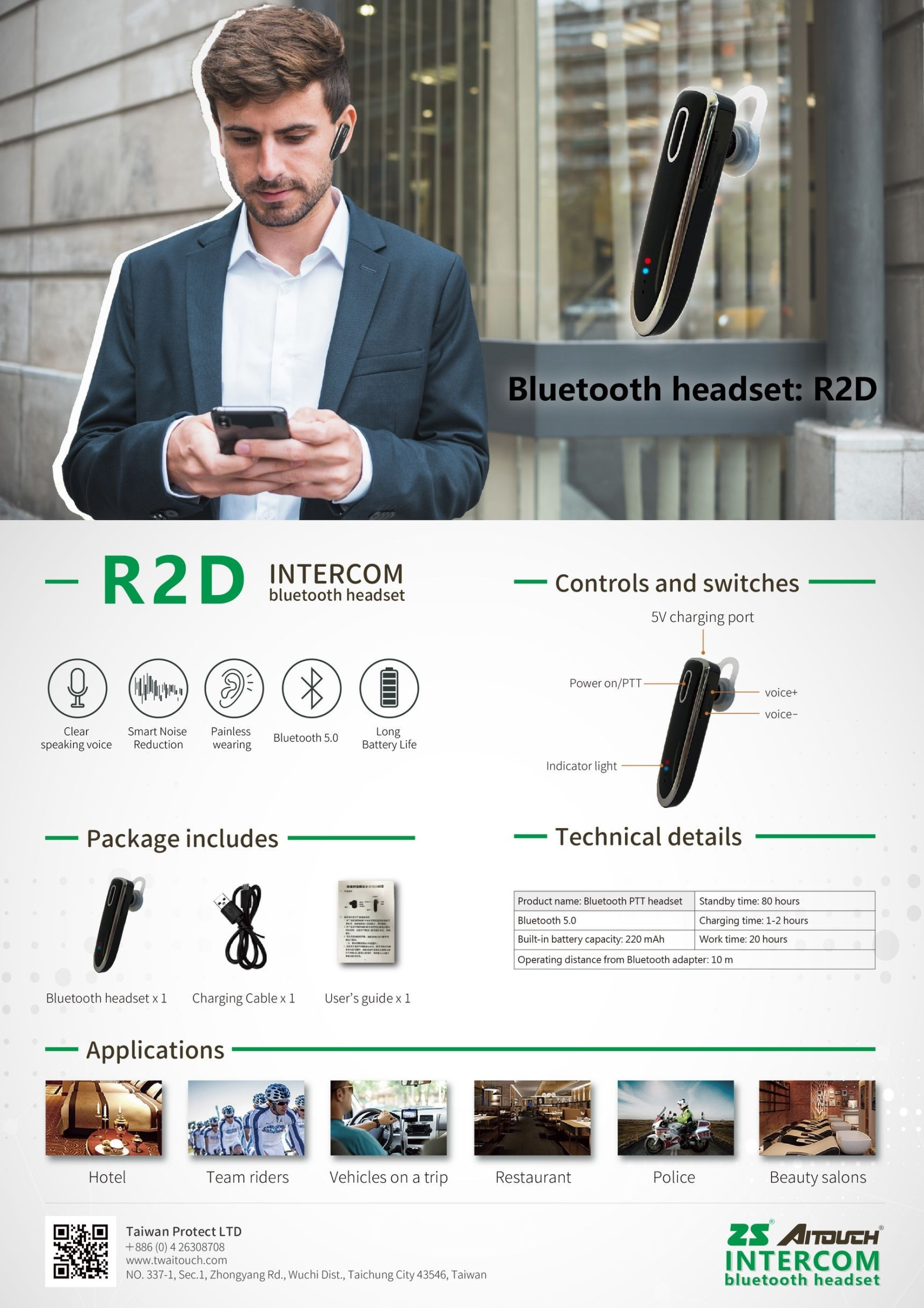 Single ear Bluetooth i0009 headset for extension to walkie talkie (2 SETS & 3 SETS PACKAGE)| R2D