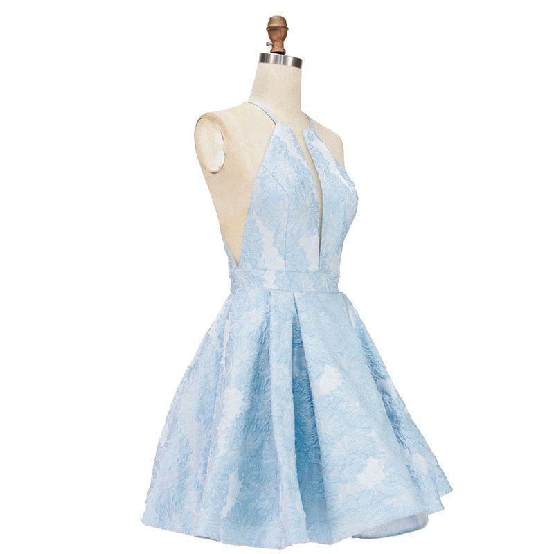 Halter Deep V Neckline Gown Light Blue Knee Length Prom Homecoming Dress