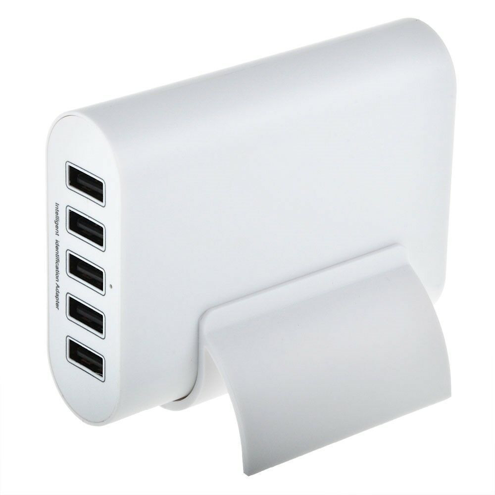 White 5V 10A 5-Port USB Portable Home Travel Wall Charger US AC power adapter