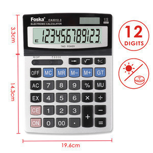 12 Digit Solar Power Electronic Office Calculator