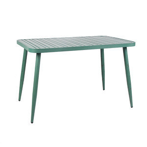 2020 New Arrival All Weather Modern Leisure Green Waterproof Rectangle Aluminium Patio Balcony Outdoor Garden Table