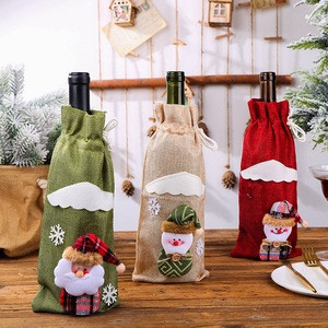 Christmas Home Decoration Accessories Wine champagne Bottle Bag Dining Table Dress Up