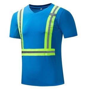 Custom High Vis Shirt 100% Polyester Dry Fit  Security Shirts Reflective Logo/ Strip Work Wear Shirt Fluorescent/Yellow Uniform
