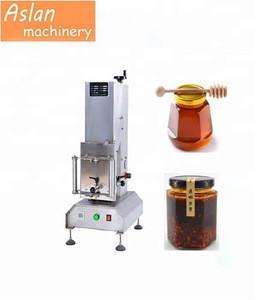 Desktop honey glass jars screw caps locking machine/ Fermented bean curd glass bottle tin cap vacuum closing machine