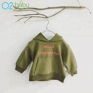 Factory customized letter printed autumn baby green hoodie 2137