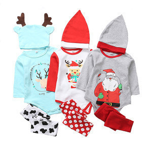 Hao Baby Autumn and Winter models cotton Christmas triangle romper suit baby print jumpsuit