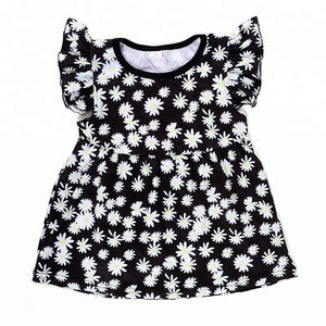 Kids clothes flutter sleeve chrysanthemum print baby shirt wholesale children shirt