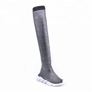 Knitting Rhinestone Women Boots For Sneaker Socks  handmade rhinestone boots more prominent long legs