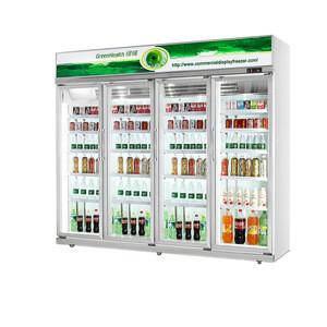 OEM Supermarket Freezer Soft Drink Fridge Upright Display Cooler Glass Door Lock