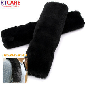 Soft Confortable Plush Faux Fur Car Safety Seat Belt Cover Protect Shoulder Pad For Kids