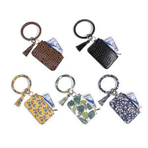 Vegan PU Leather Rounded Bracelet Design Women Fashion Key Chain With Coin Wallet ID Card Holder Pouch