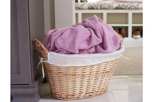 Wholesale Hand Craft Natural Willow Laundry Basket with Washable Liner