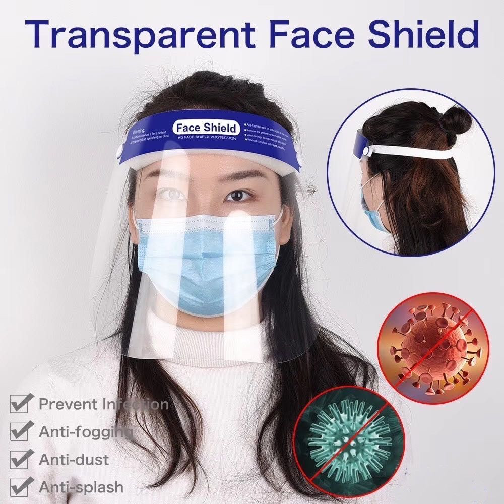 2020 Large Instock Fast delivery CE FDA Disposable Plastic PET Protective Face Shield for sale