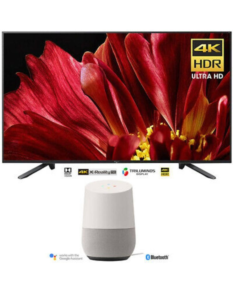 """Sony 75"""" 4K UHD Smart BRAVIA LED TV (2018) w/ Google Home Smart Speaker"""