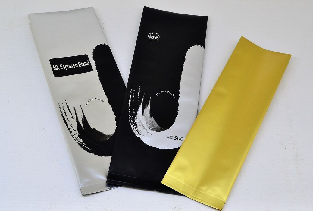 Coffee packaging matte surface centre-seal side gusset pouch