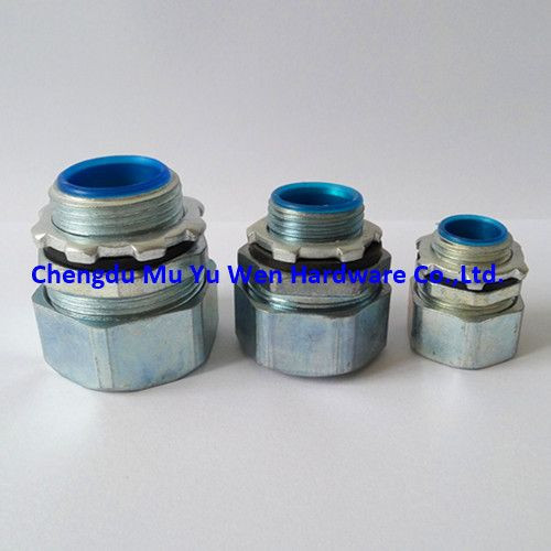 Liquid tight zinc die cast straight fitting with metric thread